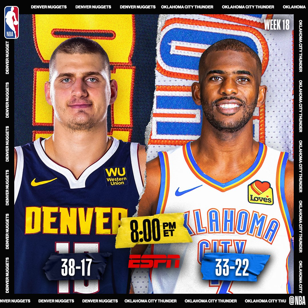 TONIGHT on ESPN 🔥📺  ▪️ #2 in West DEN vs. #6 OKC ▪️ NOP, POR look to keep pace in race for 8th seed ▪️ Zion coming off career-high 32 PTS; has scored 20+ PTS in 6 straight games  8pm/et: @nuggets/@okcthunder  10:30pm/et: @PelicansNBA/@trailblazers
