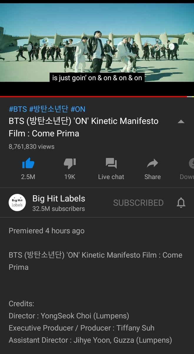 10 pm kst  ON                              Boy with Luv 8.7M                           16M