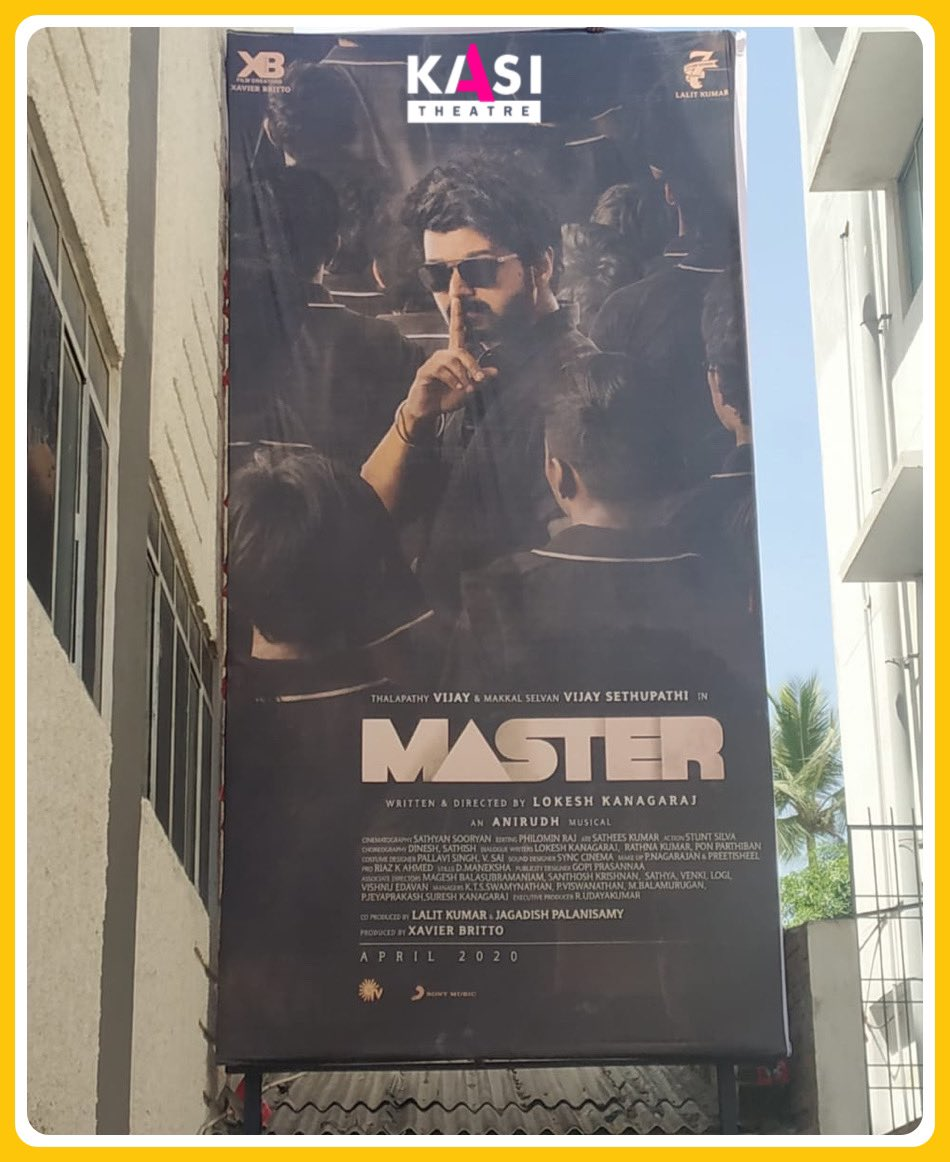 It's just the beginning, marching towards April 2020 😎 #Master makes his entry with this stylish hoarding at KASI premise.   Enna Pasangala, Ready daana 😉