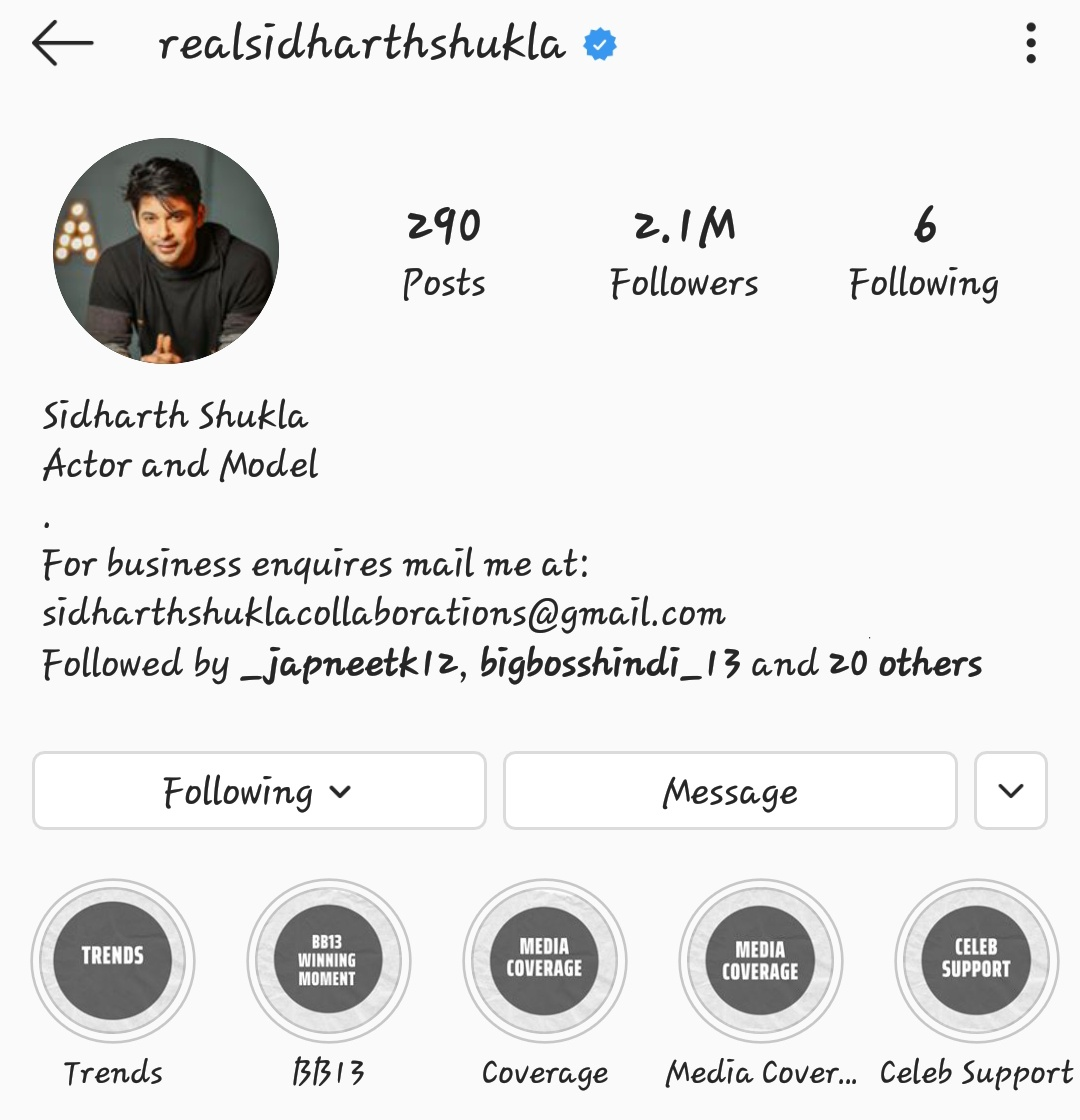 Guys Sid followers are increasing at a slow speed..I want his followers to be 3M soon  So #SidHearts follow him now on instagram..This is the link    #SidharthShukla