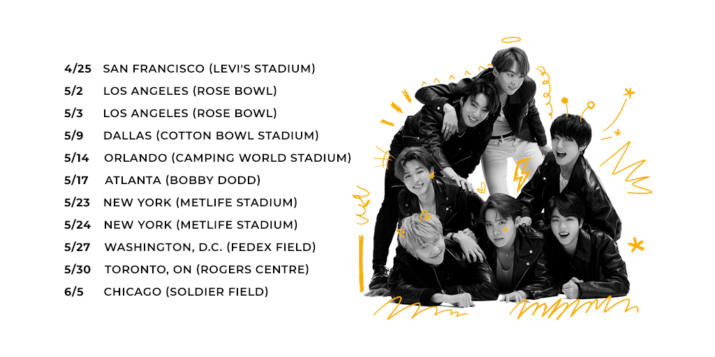 MAP OF THE SOUL: 7 is available everywhere and the #MOTS7SWEEPSTAKES is now open for US & CAN. Go to  for details and a chance to win VIP access to one of the @BTS_twt tour dates below.  #MAP_OF_THE_SOUL_7 #BTS