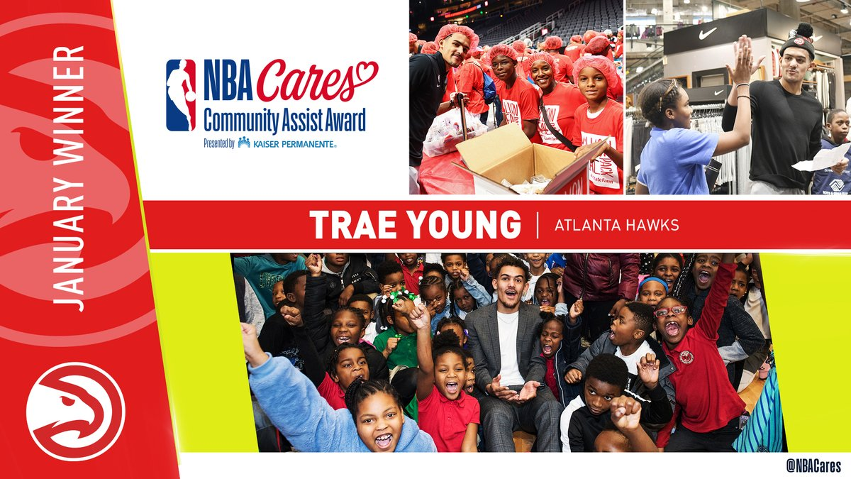 Congrats to @ATLHawks @TheTraeYoung on receiving the January #NBACares Community Assist Award presented by @aboutKP in recognition of his efforts to impact the lives of youth, families and those in need in Georgia and Oklahoma! 👏🏀  Learn more: