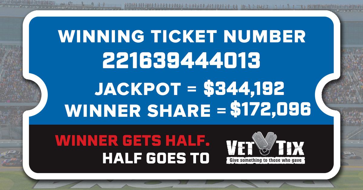 Thanks to our fans for helping us raise $172,098 for @VetTix with our #SpeedweeksByAdventHealth 50/50 Drawing. The winning number below also has won $172,098!