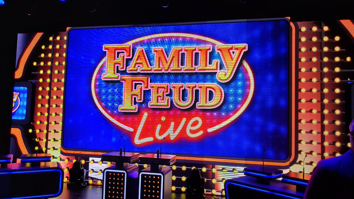At a top secret location in Florida for reveal of @FamilyFeud that will debut on @CarnivalCruise upcoming #cruise #MardiGras.