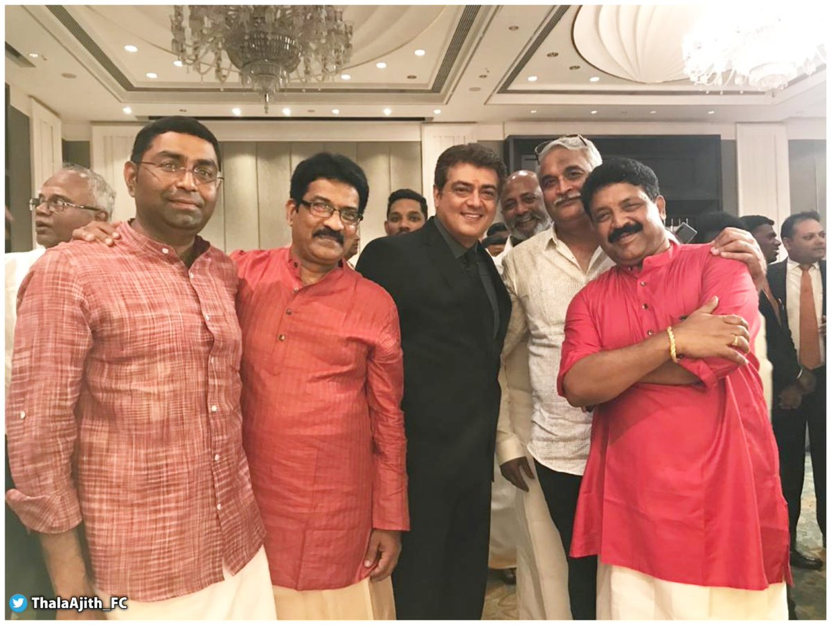 #Thala #Ajith with his long-time Manager and Friend @SureshChandraa 's Sir at his family wedding..