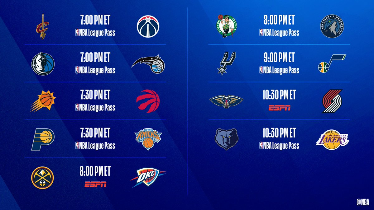 🚨 9-game slate TONIGHT 🚨   ▪️ Jazz look for 5th straight win  ▪️ Zion coming off career-high 32 PTS as Pelicans visit Trail Blazers  ▪️ Raptors seek 16th win in 17 games   📺: ESPN  📲💻: NBA League Pass  ➡️: