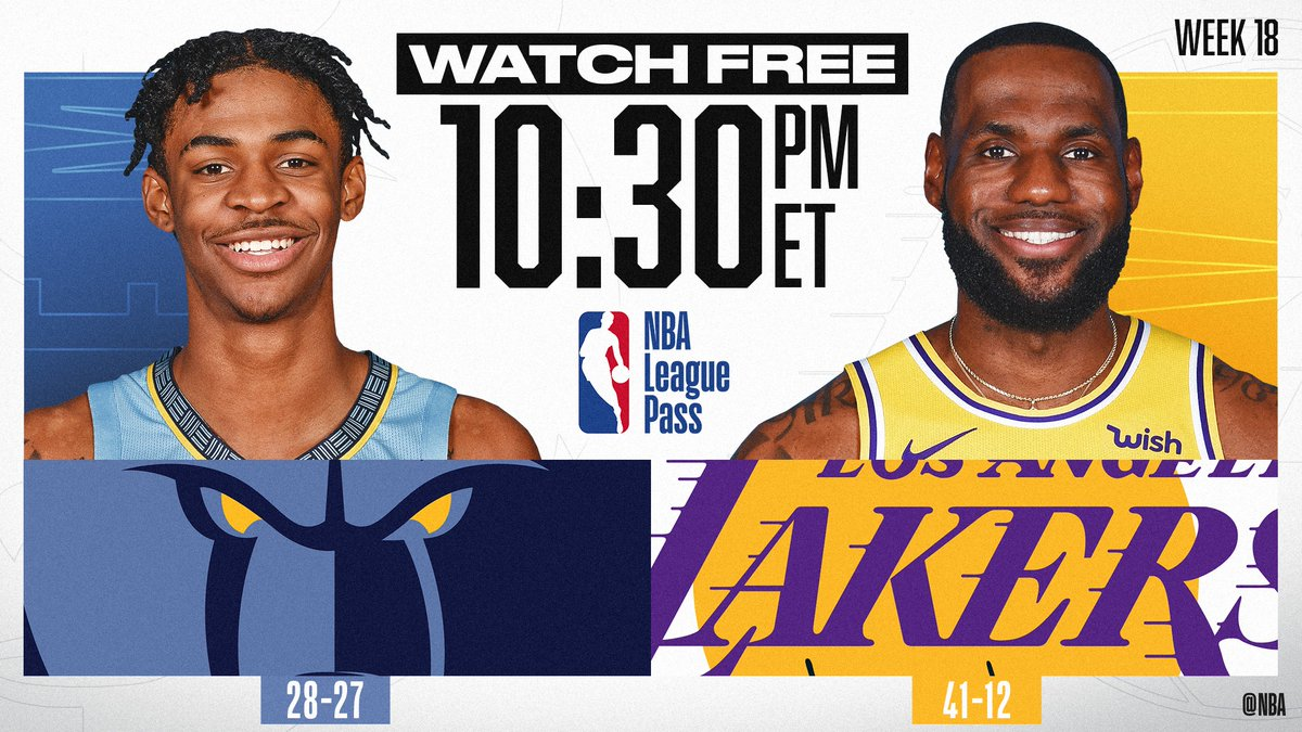 LeBron James and the @Lakers look for their 4th straight win when they host rookie Ja Morant and the @memgrizz TONIGHT at 10:30pm/et on NBA League Pass!   📲💻:   *Offer not available in every market. International markets require credit card for access