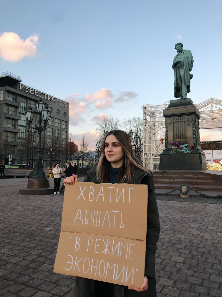 """Today it was sunny in Moscow, but not in Krasnoyarsk - the sky is still """"black"""" there because of air pollution.   But nobody deserves to live in a post apocalyptic future like this.  #climatestrike #FridaysForFuture"""