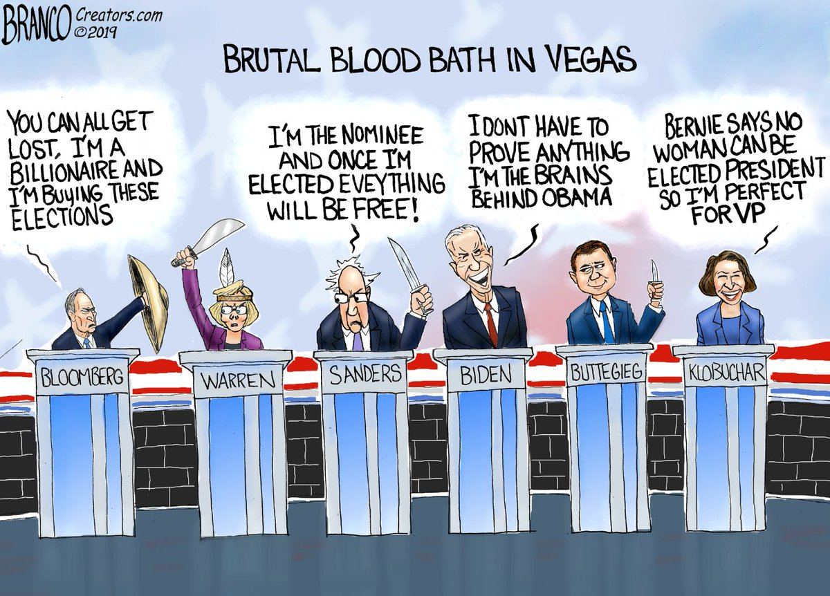 One picture is worth a 1000 words - especially if you missed the brutal knife fight in Vegas on Wednesday. Undoubtedly, the real winner of this week Democratic debate was President Trump @realDonaldTrump. Great cartoon by @afbranco