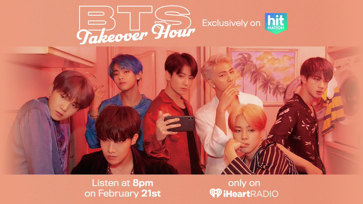 To celebrate @bts_bighit's new album, #MAP_OF_THE_SOUL_7, we're letting them take over the radio!  Tune in to Hit Nation on iHeartRadio at 8PM to hear some of BTS' biggest hits plus their favorite songs from @halsey, @jonasbrothers and more! Listen: