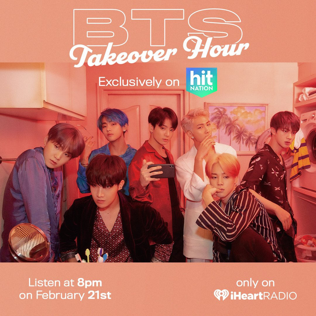 RIGHT NOW! We're celebrating @bts_bighit's new album, #MAP_OF_THE_SOUL_7, by letting them take over the radio!  Tune in to Hit Nation on iHeartRadio to hear some of BTS' biggest hits plus their favorite songs from @lauv, @Camila_Cabello and more! Listen: