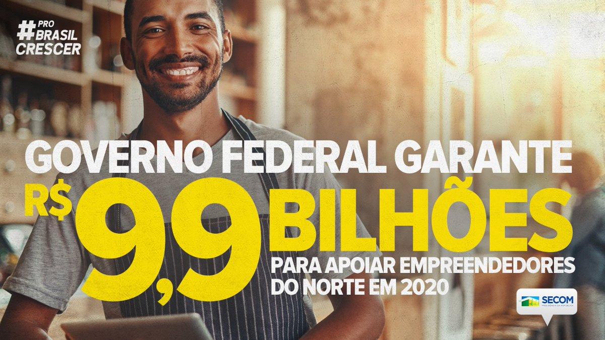 Mais recursos e desenvolvimento! #ProBrasilCrescer, os produtores e empreendedores da região Norte têm à disposição R$ 9,9 bilhões para investimentos em 2020. Os recursos são do Fundo Constitucional de Financiamento do Norte (FNO), administrado pelo @mdregional_br.