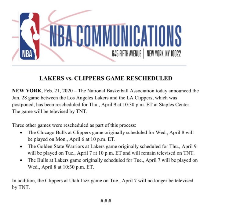 The Lakers/Clippers game that was postponed on Jan. 28 will be rescheduled for Apr. 9.  Several other scheduling changes have been announced as a result.