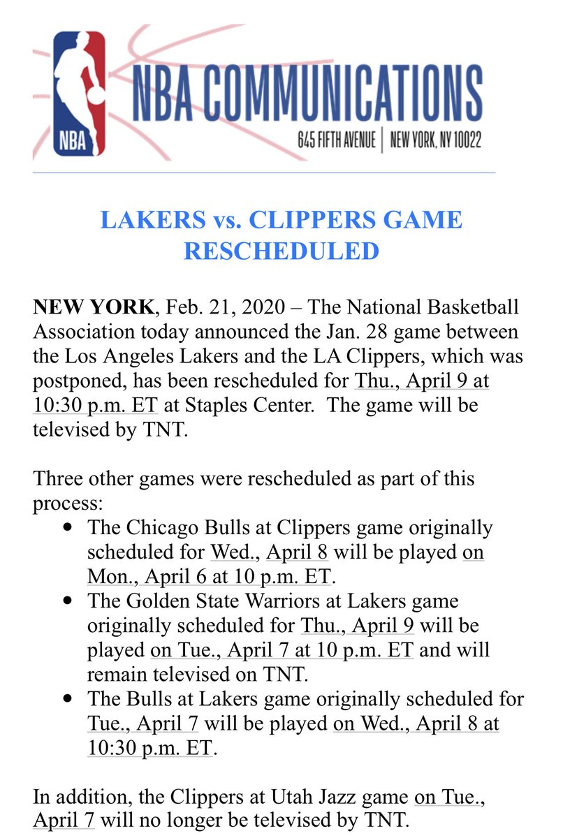 The NBA today announced the Jan. 28 game between the @Lakers and the @LAClippers, which was postponed, has been rescheduled for Thu., April 9 at 10:30 p.m. ET at Staples Center. The game will be televised by @NBAonTNT.