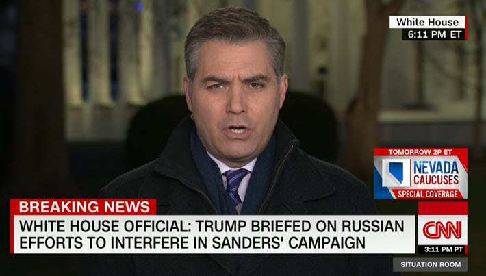 "Media: Jim @Acosta to @wolfblitzer: ""A source present for this briefing ... said the information relayed to lawmakers made it clear #Russia has already begun interfering in the 2020 election ... Asked whether the information presented was alarming,' the source said, 'Very.'"""