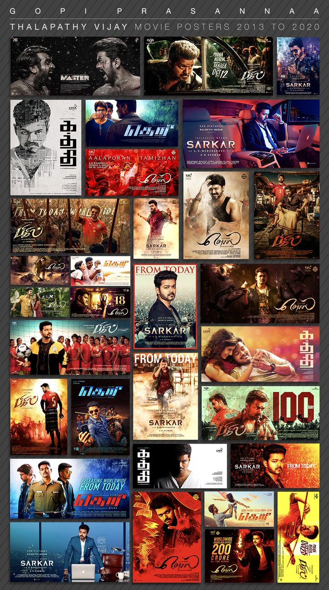 #JourneyWithThalapathyVijay  7 years... 6 movies...100 plus posters !  #Kaththi #Theri #Mersal #Sarkar #Bigil #Master  @ARMurugadoss @Atlee_dir @Dir_Lokesh  @actorvijay #ThalapathyVijay