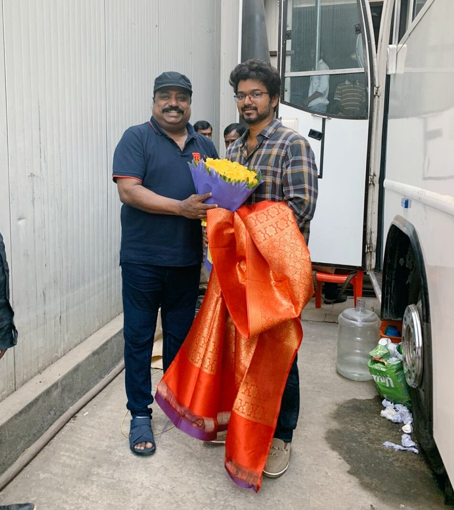 #ThalapathyVijay with #Master Producer #XavierBritto. @MasterOfficiaI