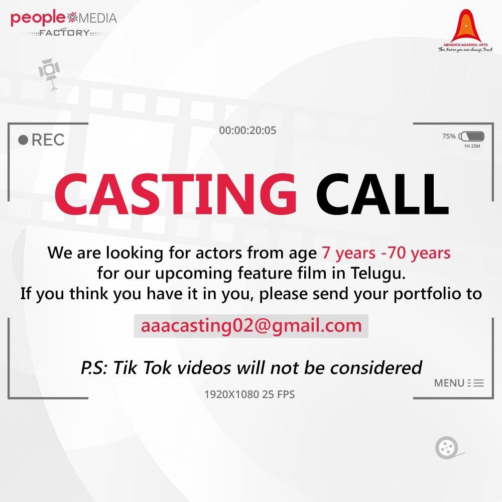 Casting Call. All details below.  #TGVishwaPrasad @vivekkuchibotla @AbhishekOfficl @peoplemediafcy @AAArtsOfficial