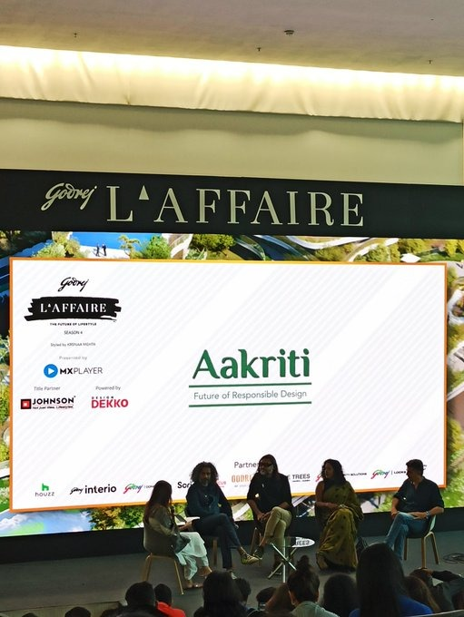 The future of responsible design is here. Giving us a peek at the future of decor and architecture are Alan Anraham, Madhav Raman, Swarup Dutta, Asha Sairam and Preti Singh at #godrejlaffaire