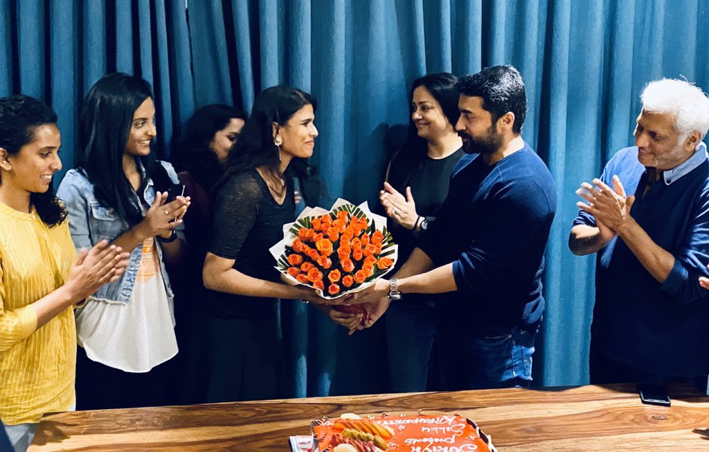 Wouldn't have missed this for anything. But work called. Wish I could join this special meet ❤️  Two permanently special people in our lives.Thank you #Jyothika ma'am and @Suriya_offl sir for everything. Celebrating 50days of love. #SilluKaruppatti @halithashameem @yaminiyag