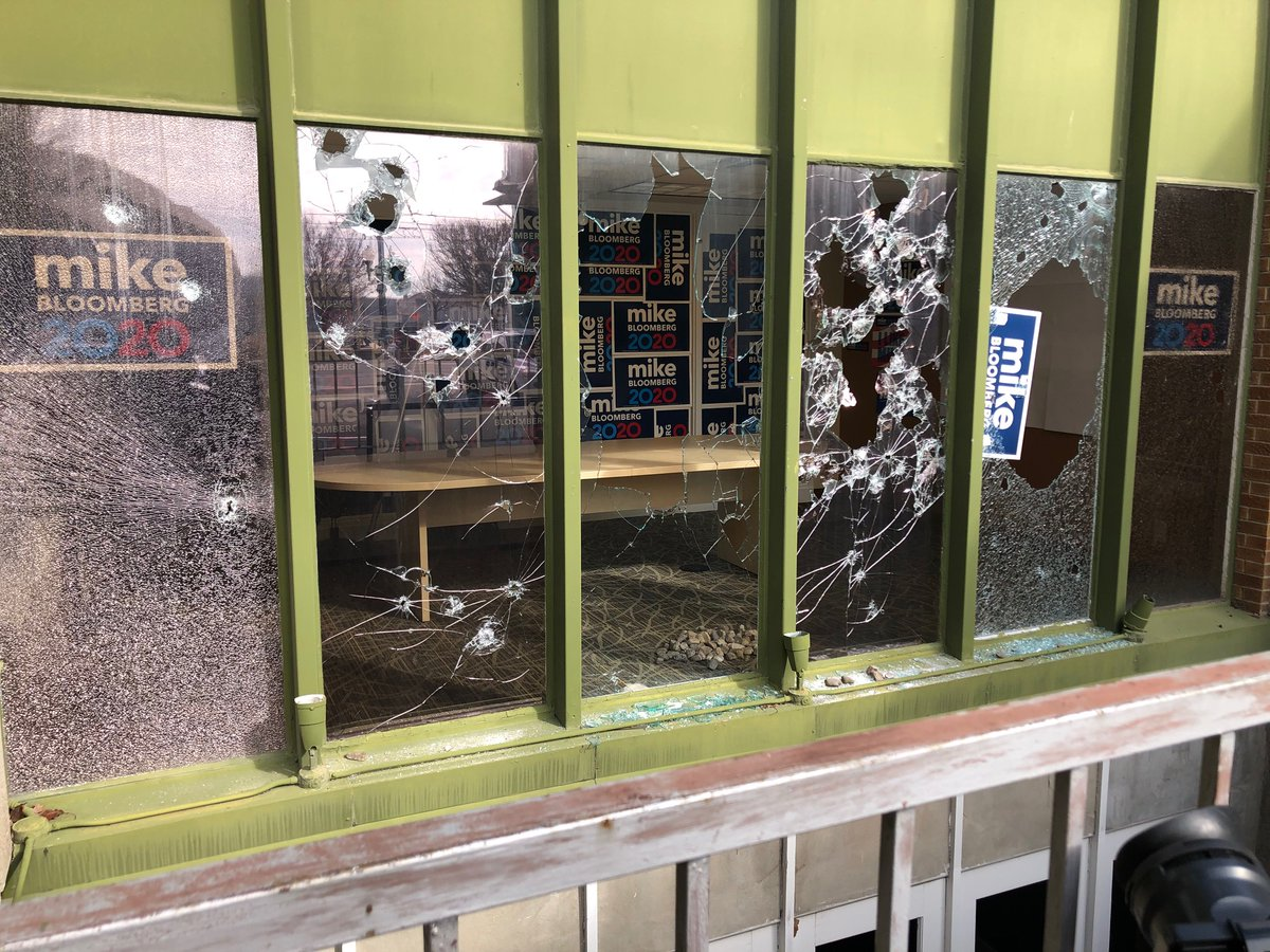 The Bloomberg campaign office in Salt Lake City was vandalized overnight. It is confirmed that roughly 50 rocks were thrown through the window.