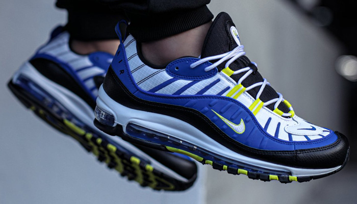 Sizes to 15 for the racer blue/black-dynamic yellow Nike Air Max 98 are 40% OFF at $95.97 + FREE shipping with your Nike+ account! #promotion  BUY HERE ->