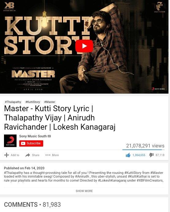 #KuttiStory Lyric Video :  VIEWS 👉 21 MILLION  LIKES 👉 1.36 MILLION  COMMENTS 👉82K  #Master @actorvijay