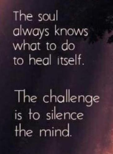 The challenge is to silence the mind....  #ThinkBIGSundayWithMarsha #SaturdayThoughts #SaturdayMotivation #makeyourownlane #gratitude #quotestoliveby #WordsOfWisdom #Leadership #Positivity #Personality #Integrity #Mentors #Humility #HelpOthers #Kindness