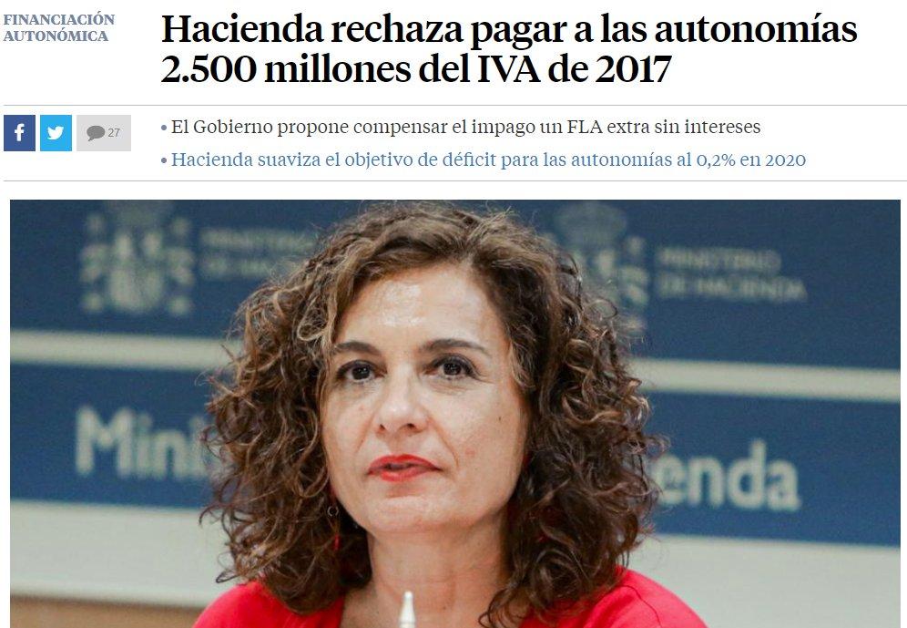 La primera actuació de la nova Ministra de Finances del PSOE va ser no pagar l'IVA a les autonomies, inclosa Catalunya.   I ara el PSC proposa un pacte fiscal.   Quines penques.  Quins estafadors. https://t.co/evgt0UkbtS