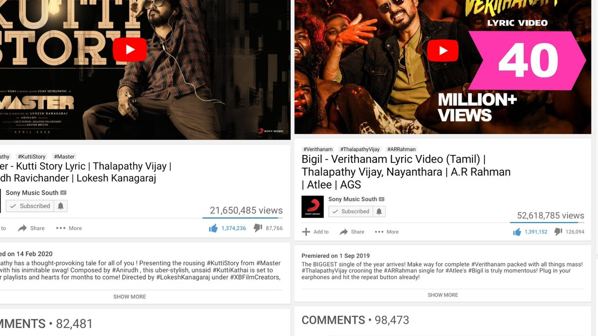 Maappi.... #KuttiStory Need Just 17K Likes to Break South India's Most Liked LyriC Video song #Verithanam Record  #Master @actorvijay @anirudhofficial