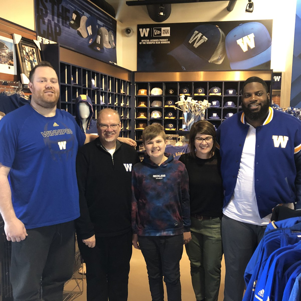 test Twitter Media - Thanks @paddyneufeld and @MyHumble_Self for the autographs and pic today. While at the @Wpg_BlueBombers store we ordered next seasons tickets and our brand new jersey's. #ForTheW https://t.co/iZnGy3WFvO