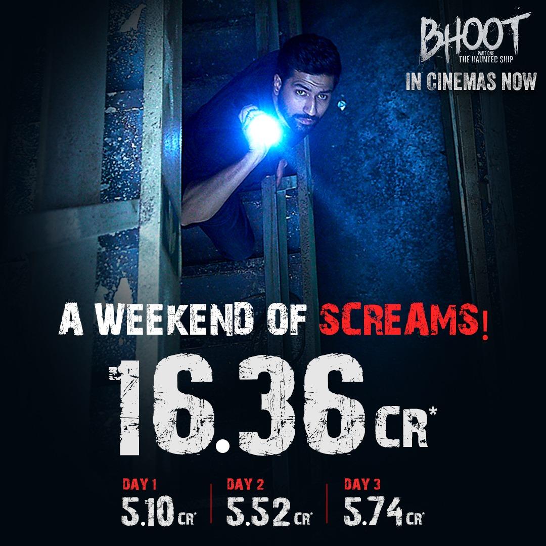 #Bhoot has a good Sunday ₹5.74 crores ...total ₹16.36 cr! @vickykaushal09 @bhumipednekar @Bps_91 @karanjohar @apoorvamehta18 @ShashankKhaitan @NotSoSnob @DharmaMovies @ZeeStudios_ #BhootTheHauntedShip #TheHauntedShip #VickyKaushal