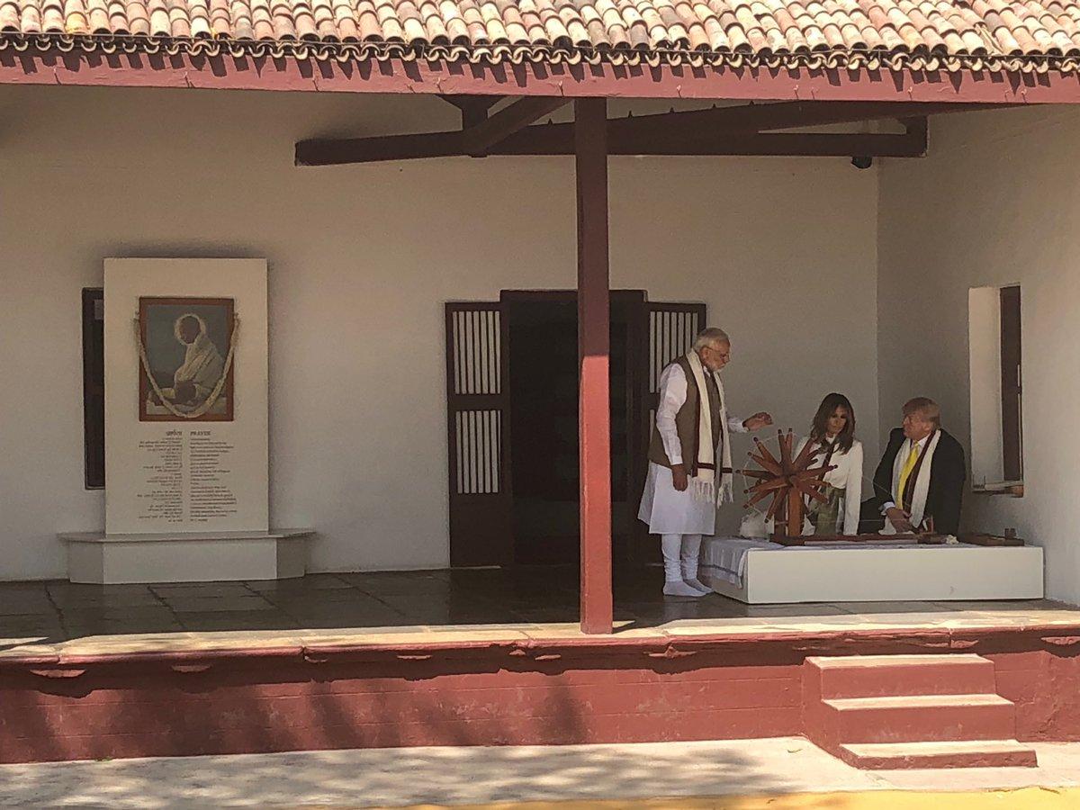 Trump and Melania in Gandhi's home