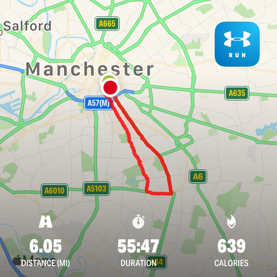 Storm Jeremy,  Manchester Wet 6 Mile Run  Tapering For Sunday's @OfficialBigHalf  Part of @LondonMarathon Training   🏃♀️ To Raise £40k  @mencap_charity Me & My Body Project  #SponsorMeBitches    #LondonMarathon #The40thRace #Heaven40 #BigHalf  #MovedByLondon