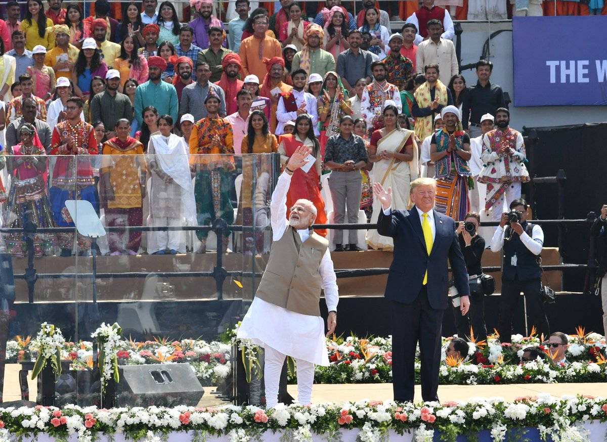 During his speech at the #NamasteTrump programme, @POTUS @realDonaldTrump highlighted aspects of his vision for USA. He also spoke at length about India's greatness as well as the greatness of our culture, ethos, people and more.  I thank him for his kind words.