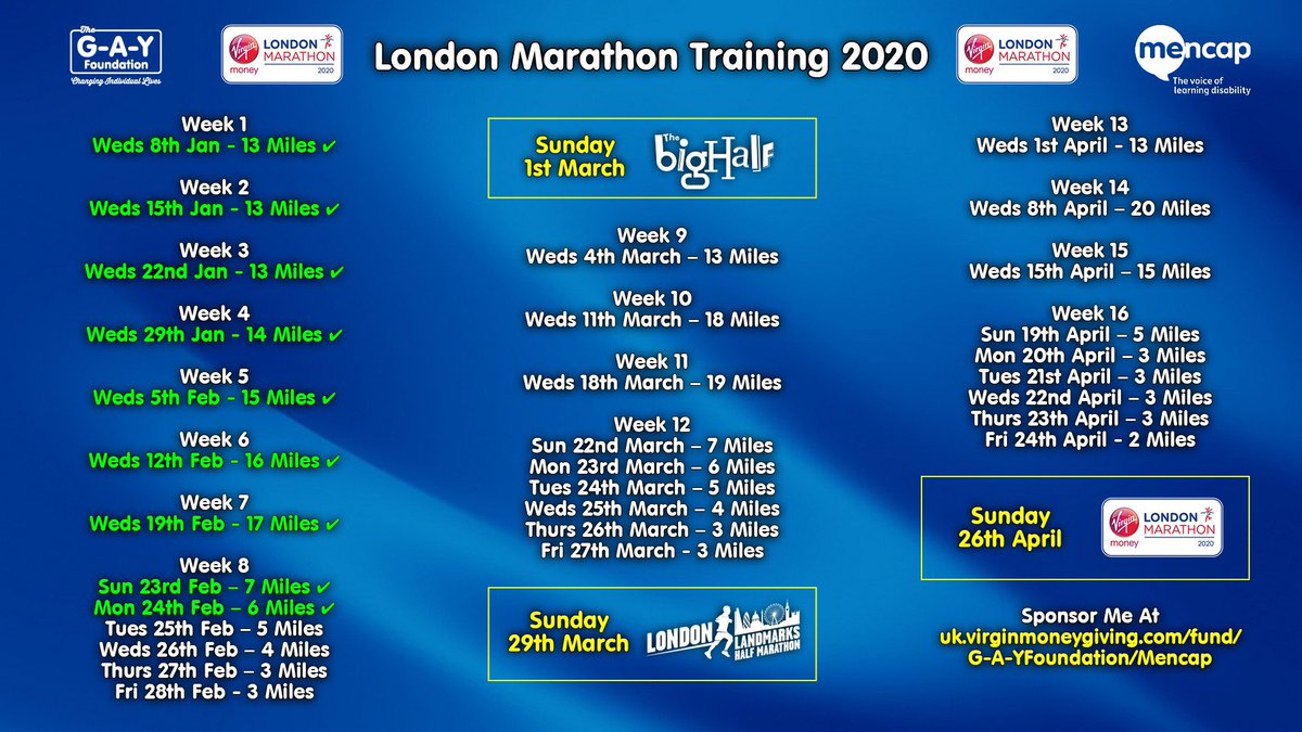 My @LondonMarathon Training Programme  Tapering Mile A Day For Sunday's @OfficialBigHalf   Manchester 6 Miles ✅  🏃♀️Raise £40,000 @mencap_charity Me & My Body Project #SponsorMeBitches    #LondonMarathon #The40thRace #Heaven40 #BigHalf #LLHM #MovedByLondon