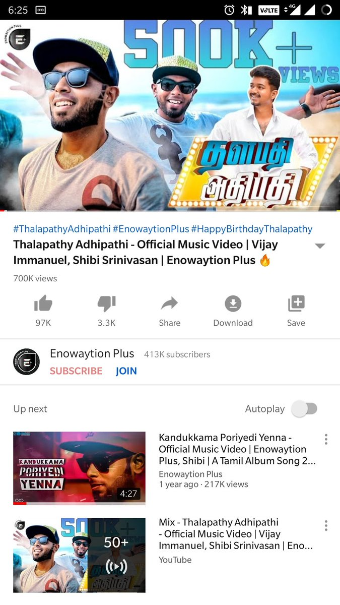 7,00,000 + Views For #ThalapathyAdhipathi 😍  Video:   Let's See whether we can hit 1 Million Views Before Releasing The Next Song !!  #EnowaytionPlus #EPlusSquad #Master