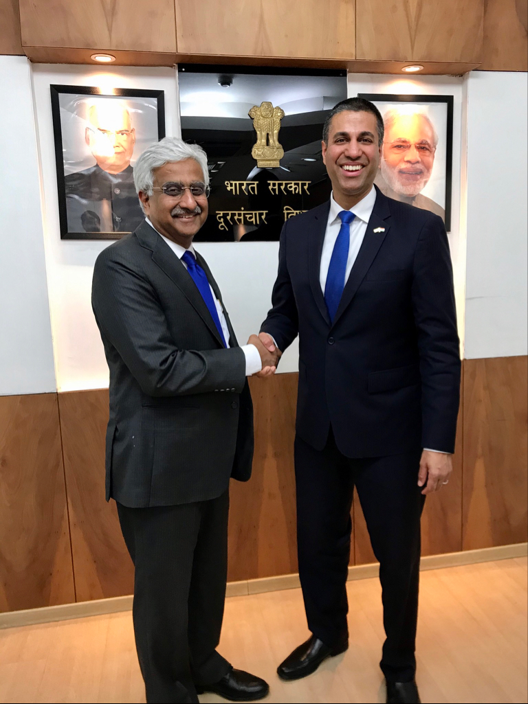 Grateful to @DoT_India Secretary of Telecommunications and Digital Communications Commission Chairman, Shri Anshu Prakash, for meeting with me! A good conversation about issues like the @FCC's work on #5G, including spectrum (3.5, 3.7, and other bands) and infrastructure reforms. https://t.co/kl2pS1JC09