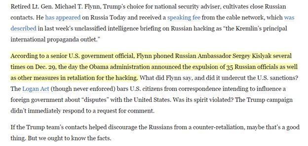 @ByronYork During the DOJ/FBI conflict, the Flynn calls leak to WaPo reporter David Ignatius.  WaPo publishes the leak on 1/12/17.   The leak involved the same law the DOJ/Yates was investigating Flynn for breaking – the Logan Act.