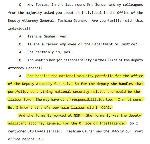 @ByronYork Working w/ Yates was Tashina Gauhar - whom the DOJ has protected from being questioned by Congress.  Tashina handled the NSD (FISA) portfolio for Yates.  More background here: