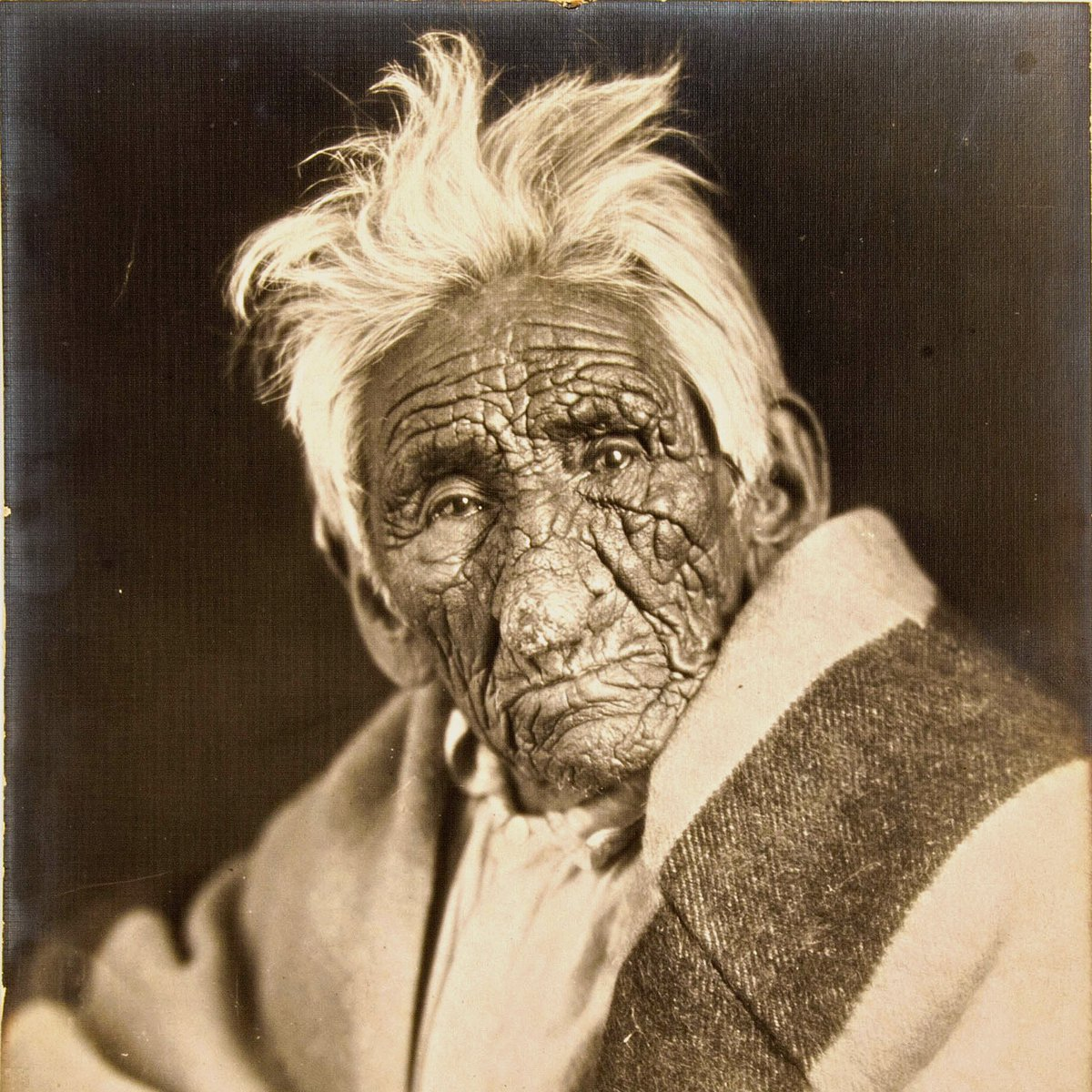 "Chief John Smith (born between 1822 and 1826 (allegedly as early as 1784), died February 6, 1922), also known as Gaa-binagwiiyaas (""which the flesh peels off""), a Chippewa Indian who lived in Cass Lake, Minnesota."