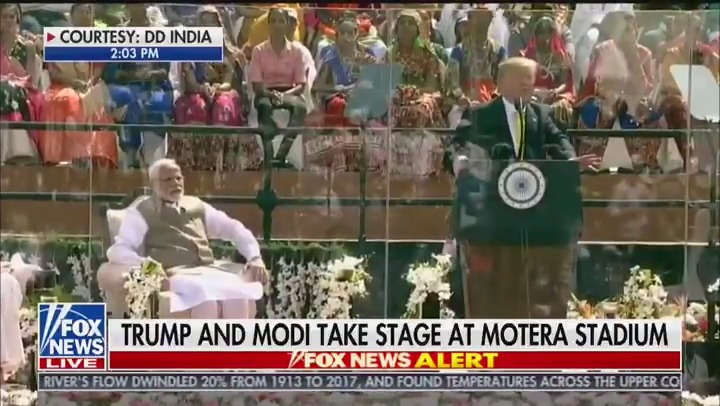 """""""There is all the difference in the world between a nation that seeks power through coercion, intimidation and aggression, and a nation that rises by setting its people free, unleashing them to chase their dreams. And that is India.""""  - President @realDonaldTrump  #TrumpInIndia"""
