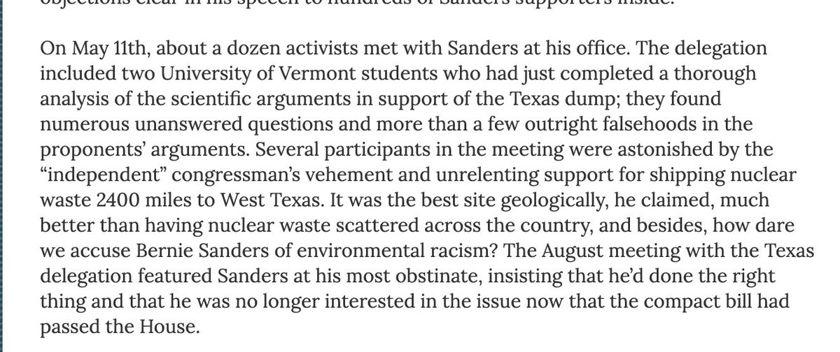 "Sanders was 57 years old when, as a congressman, he tried to get nuclear waste from Vermont dumped in Sierra Blanca, Texas, a small, extremely poor, and mostly Latino town, which brought charges of ""environmental racism."""