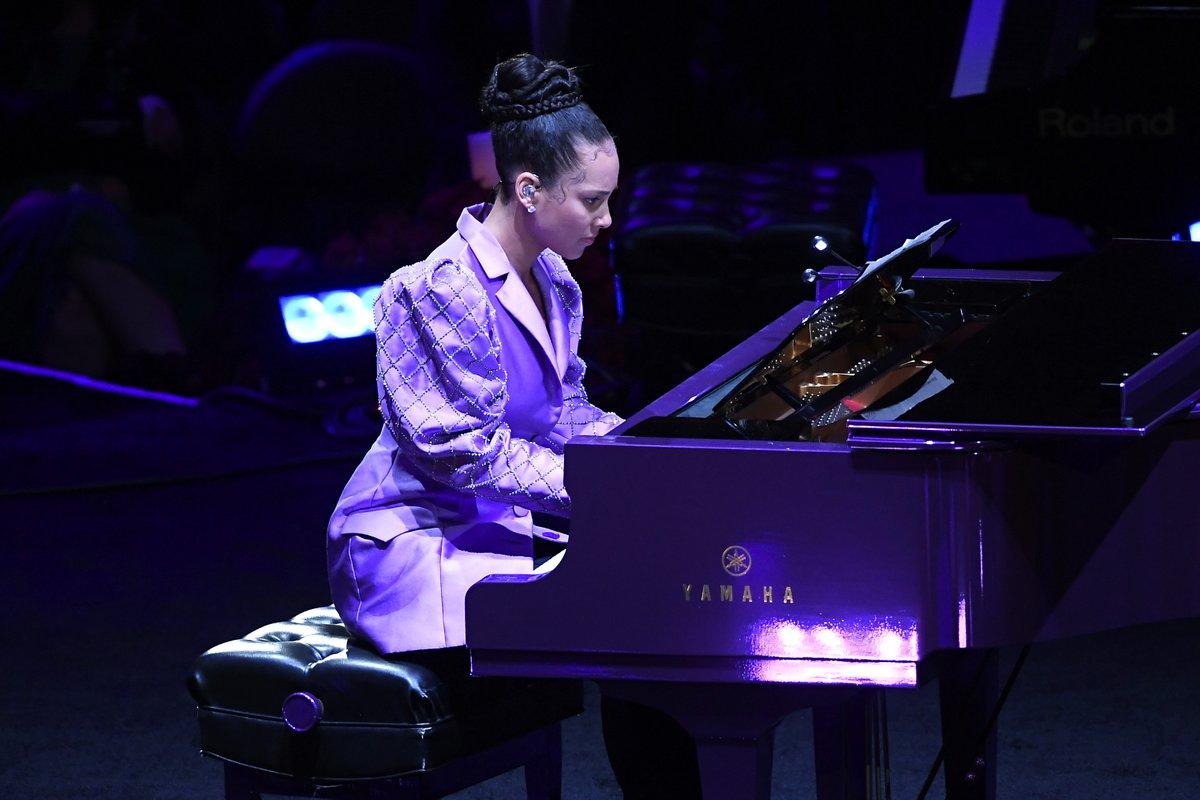 "#KobeFarewell Watch Alicia Keys beautifully play Beethoven's ""Moonlight Sonata"" at the memorial for Kobe and Gianna Bryant."
