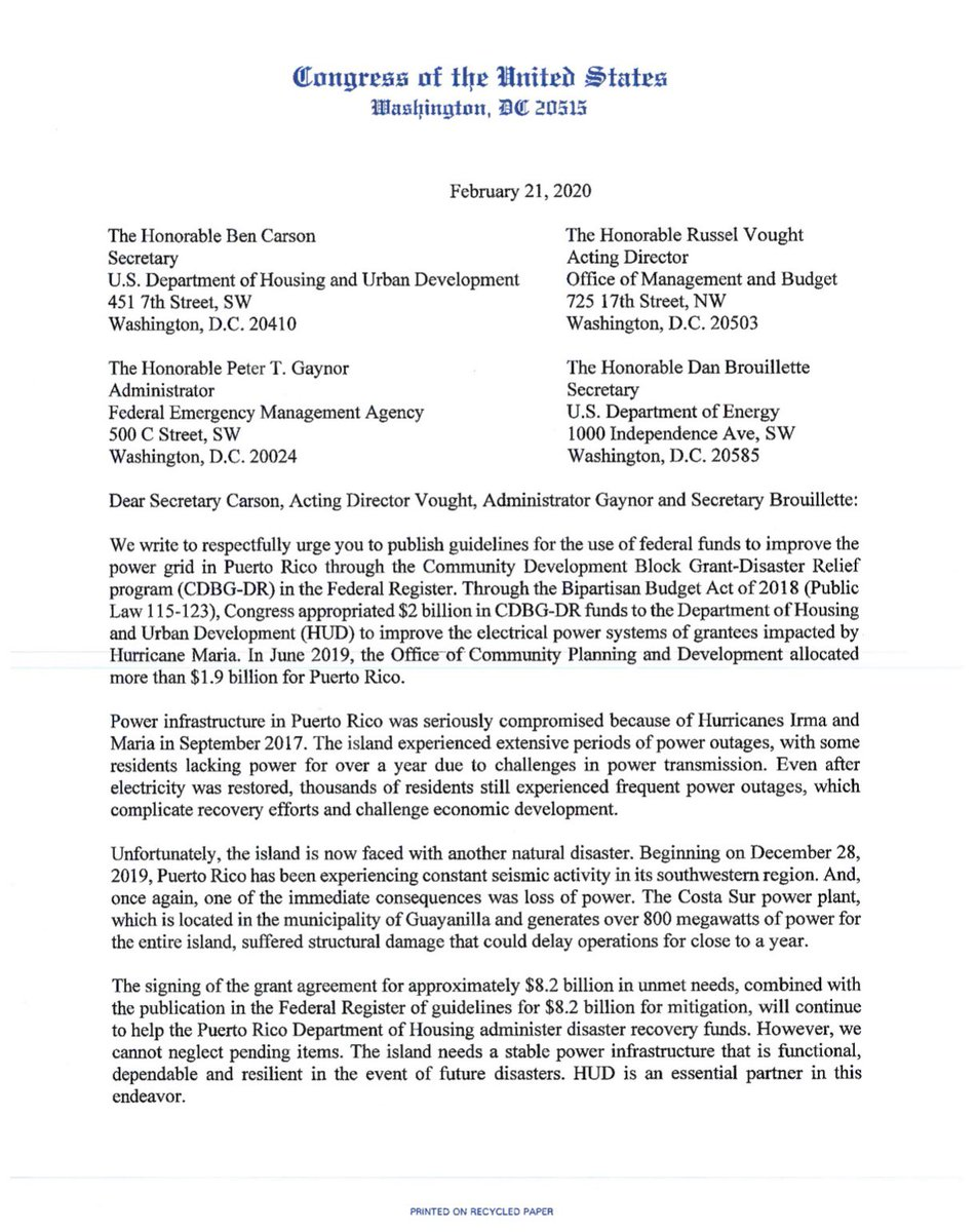 I led a bipartisan & bicameral letter urging @HUDgov, @fema, @OMBPress & @ENERGY to expedite the publishing of guidelines in the Federal Register governing the use of federal funds to improve the power grid in #PuertoRico through the CDBG-DR program.   Read more ⬇️