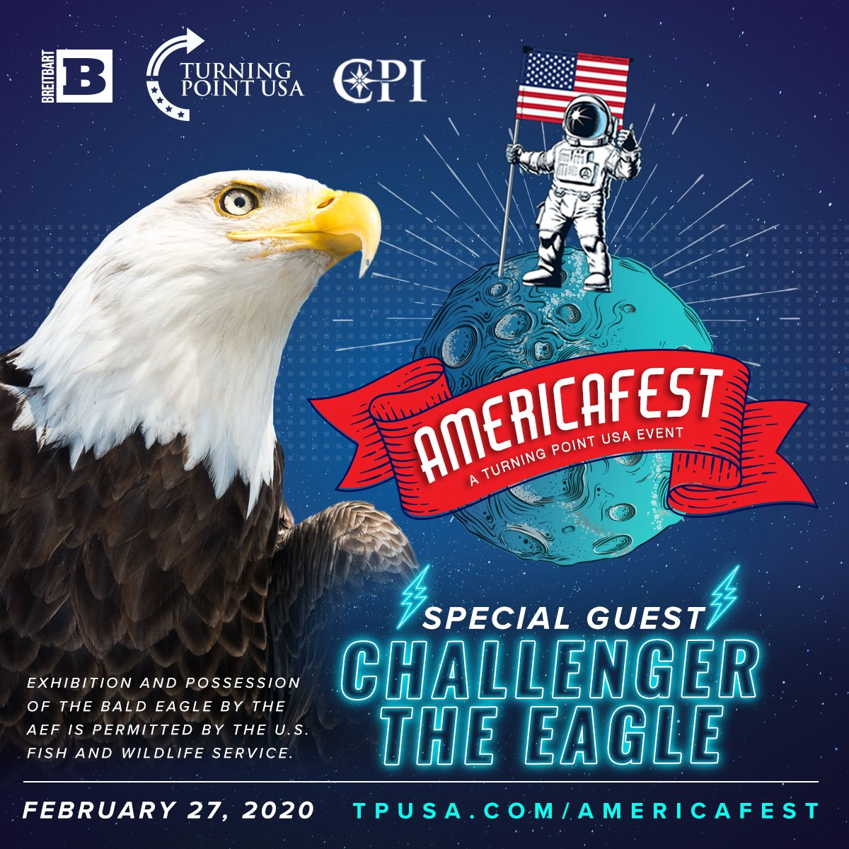 SPECIAL GUEST ANNOUNCEMENT!  Challenger The Bald Eagle Will Be Joining Us At The BEST Freedom Party Ever—Americafest, hosted by @TPUSA, @BreitbartNews, & @CPInst! 🇺🇸  Tickets Here! 👉
