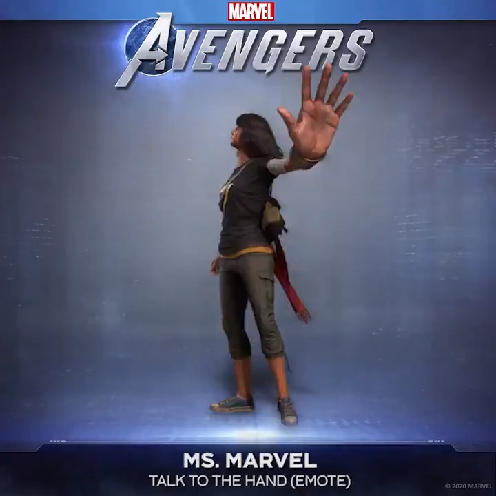 """In Marvel's Avengers, Kamala finds herself on a journey to discover her inner Super Hero. Maybe this sassy Ms. Marvel """"Talk to the Hand"""" Emote will help by keeping AIM's attitude in check - available only on PS4! 🖐️  #EmbraceYourPowers #Reassemble"""