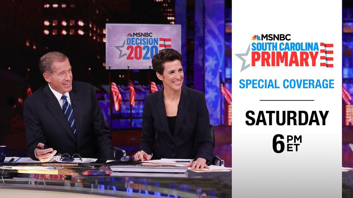 Tomorrow on @MSNBC:  The race for the Democratic nomination continues with the South Carolina Primary. Brian Williams and @Maddow will break down the results, along with @NicolleDWallace, @HardballChris, @JoyAnnReid and @SteveKornacki at the big board.