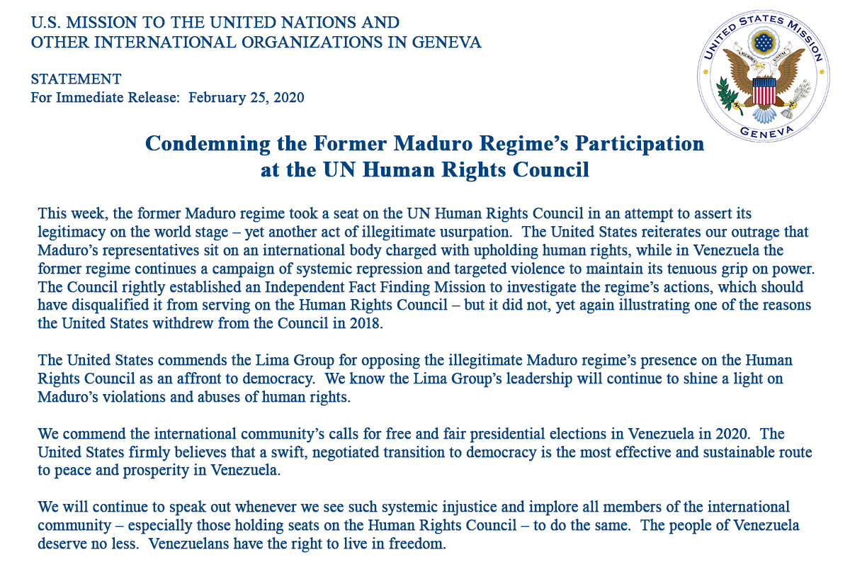 We are outraged by the Maduro regime's presence at #HRC. A regime that carries out systemic repression & targeted violence against its own people should not sit on the int'l body charged w/ upholding #HumanRights. The people of #Venezuela deserve better
