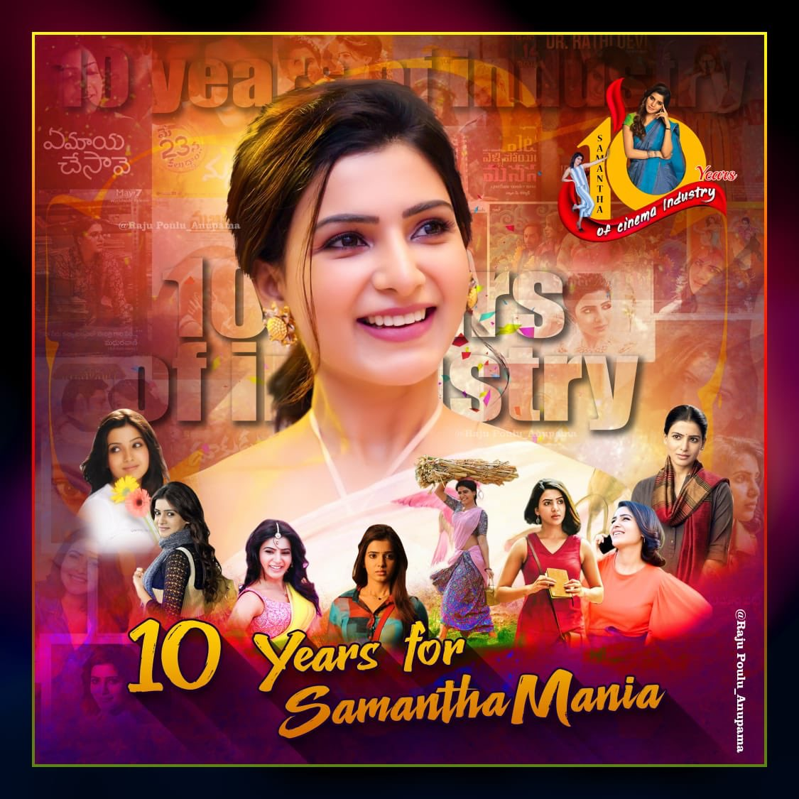 Super happy to launch #10YearsForSamanthaMania ❤️❤️ @Samanthaprabhu2 is one one the nicest and most talented actors I have seen and there is soooo much I look upto her for .. lots of love Sam and here is to many more years 😀😀